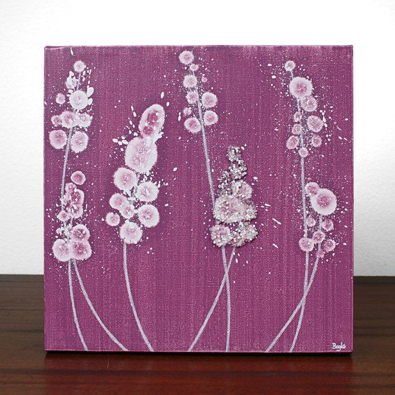 $38 Pink Painting of Flowers - Gift for Her - Original Acrylic on SMALL Canvas 10X10 - Beaded Wall Art