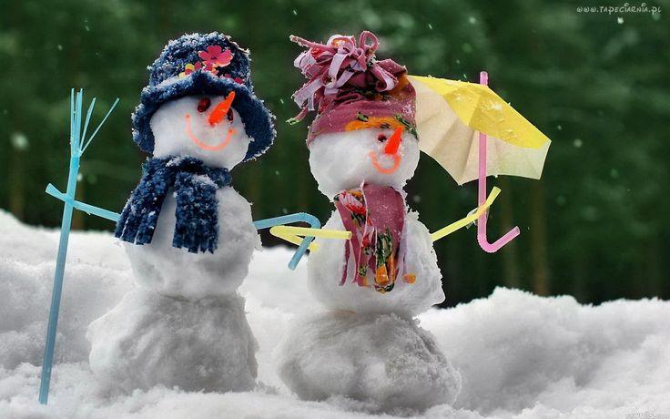 Śniegowe, Bałwanki, Parasolka, Zima