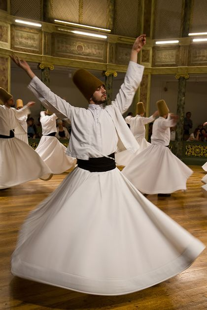 Whirling Dervishes at the Galata Mevlevihanesi, Istanbul, Turkey