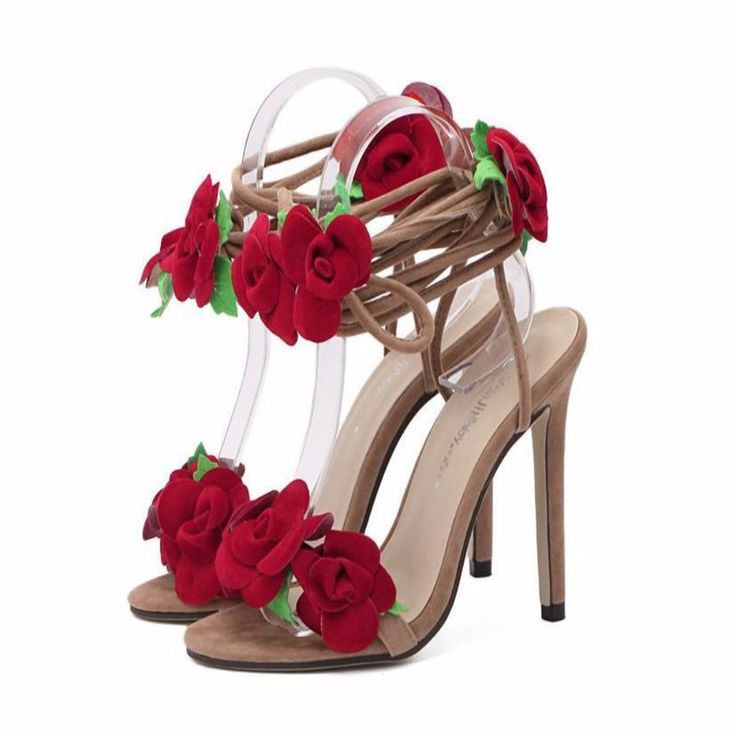Lovely Red Flower Lace Up Women High Heel Sandal | Daisy Dress for Less | Women's Dresses & Accessories