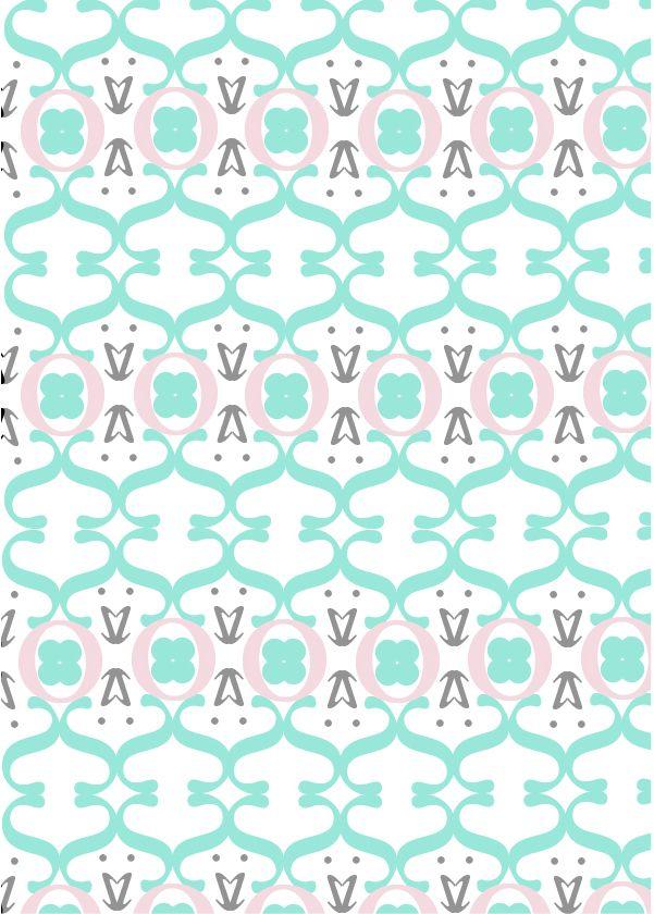 """Sabon LT std, Jan Tschichold, 1967. Pattern 2 a colori: """"Elegante"""". I colori utilizzati sono tinte pastello e rispecchiano la ricercatezza e l'eleganza del pattern e del font stesso."""