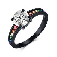 Jet Black Titanium Full Clear & Rainbow String – Lesbian & Gay Engagement Wedding Ring