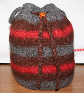 This great felted drawstring bag also has handles! Patons Wool creates a gorgeous felted bag! I include the felting instructions.