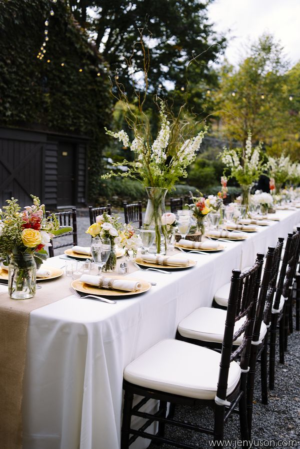 Outdoor wedding reception table settings & 164 best Table Settings images on Pinterest | Desk layout Place ...
