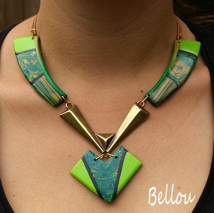 """Elégant collier """" flêche"""" fimo vert : Collier par bellou"""