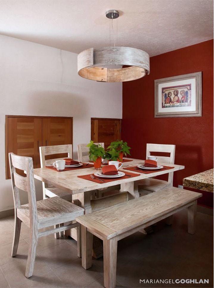 Comedor pared roja colores pinterest comedores for Decoracion casa rojo