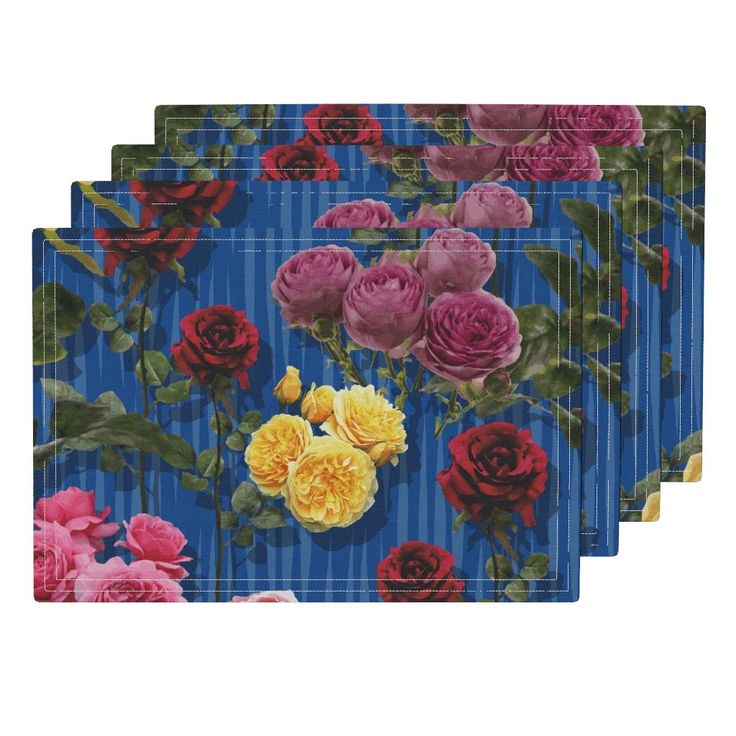Lamona Cloth Placemats featuring Blue roses by angelfraser   Roostery Home Decor