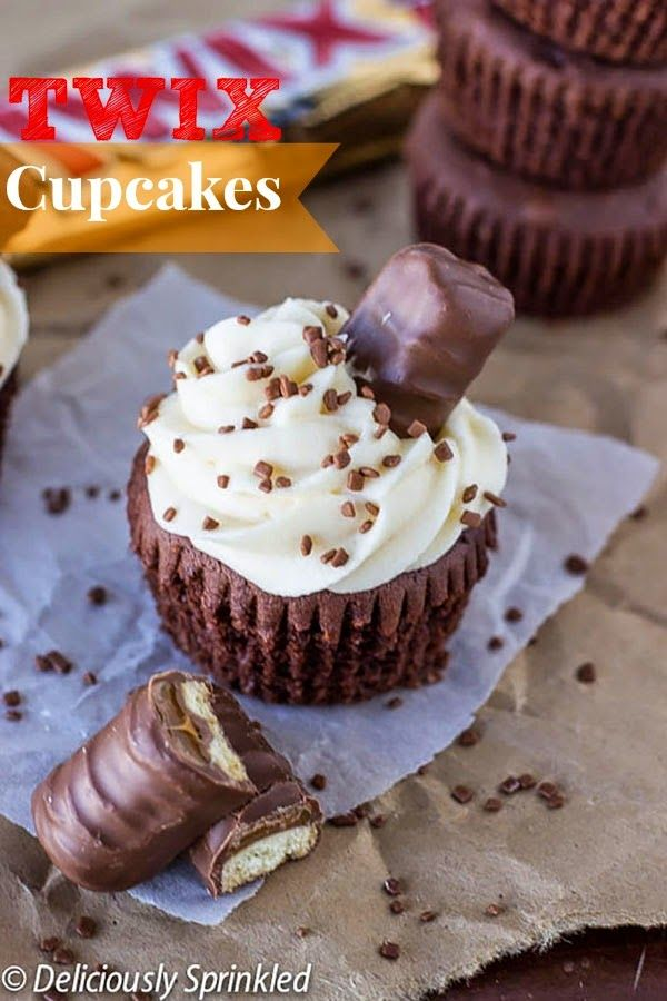 Twix cupcakes -- These cupcakes are AMAZING and super easy to make.  Chocolate cupcakes topped with caramel buttercream frosting that taste just like a Twix candy bar!