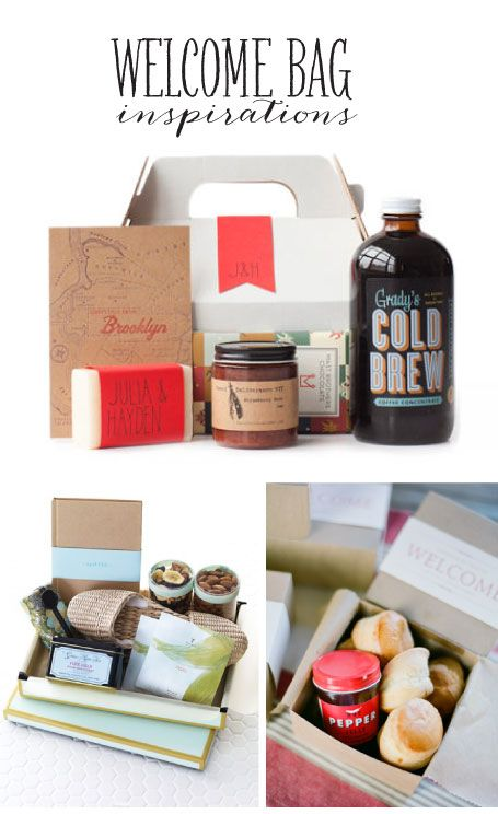 Wedding Welcome Bag Inspirations - pretty sure I've pinned this before but would be great for guests arriving from abroad