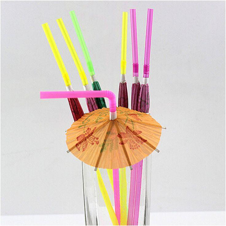 50pcs/lot Fireworks Umbrella Multicolor Plastic Fruit Cocktail Drinking Straw BBQ Hawaiian Party Theme Decoration