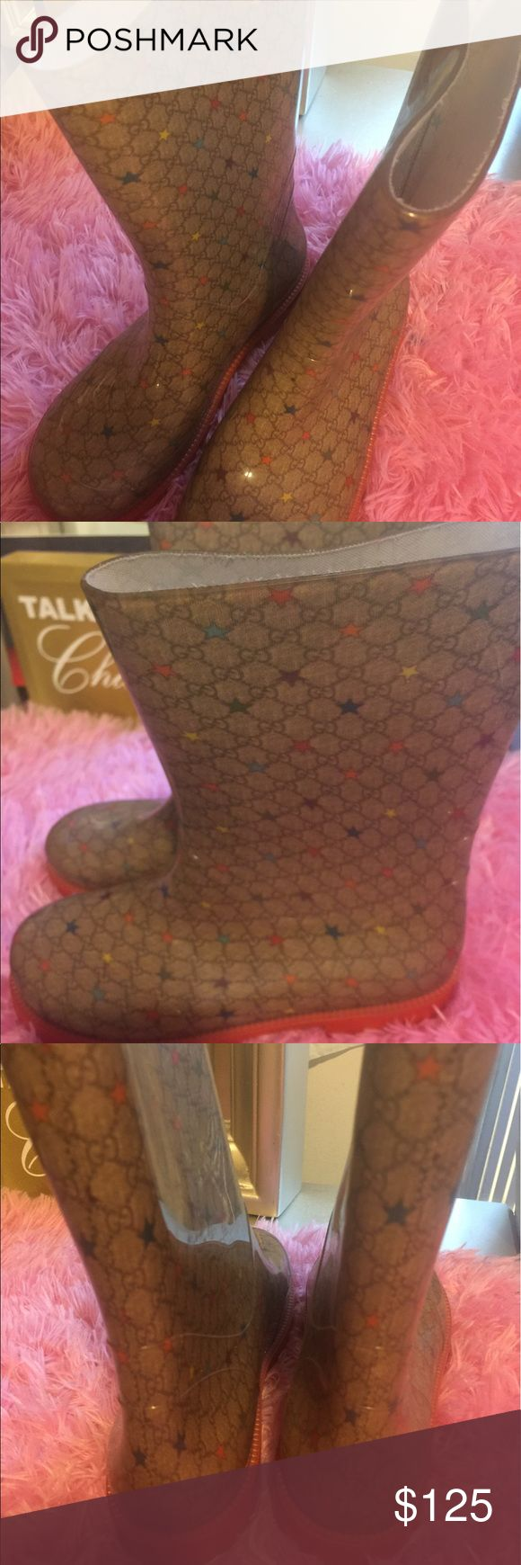 Authentic Gucci Kid Rain Boots sz32 Authentic kid Rain Boots purchased from Gucci store worn a few times perfect condition sz32 equivalent to US sz 3 Gucci Shoes Winter & Rain Boots