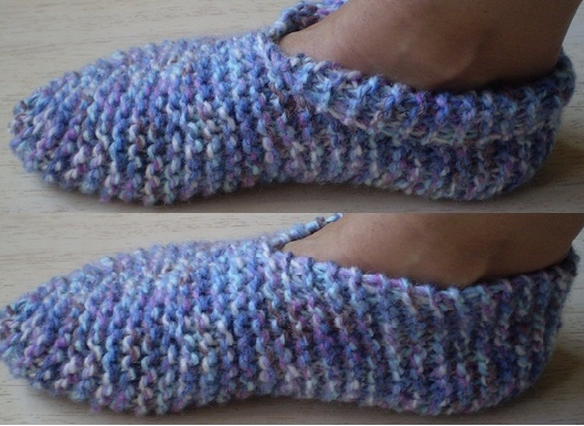 Booties for Grown-Ups-This pattern is available as a free Ravelry download. These garter stitch slippers are simple and quick to knit and will stretch to fit most adult feet. They are knitted in one piece with just two seams to sew and are really warm.