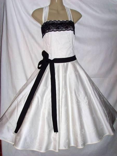 50er Jahre Kleid creme schwarz Hochzeitskleid n...