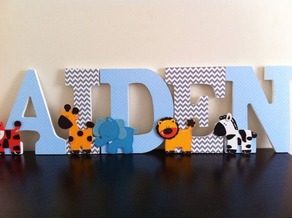 Jungle Wooden Nursery Letters, Blue and Grey Chevron Wall Letters, Boys Room Wall Art, Jungle Nursery Decor Etsy - navy chevron and light green polka dots with animals?