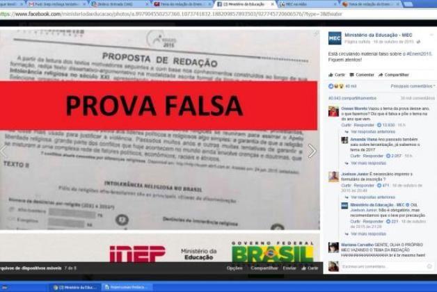 #News  Semelhança entre redação e prova falsa: Inep critica tentativa de tumultuar Enem