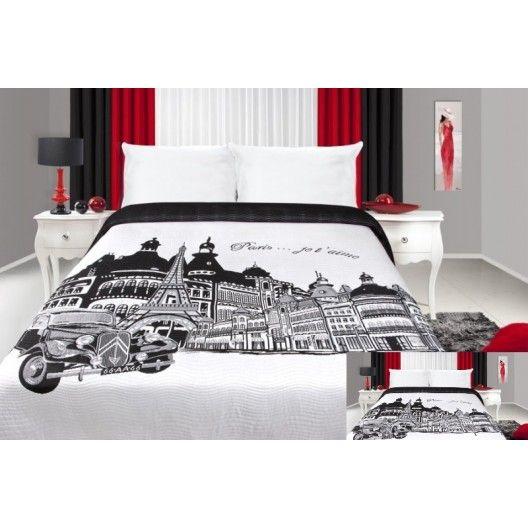 Černo bílý přehoz na postel s motivem Paříž - dumdekorace.cz