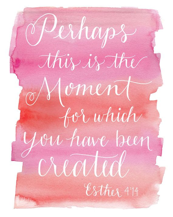 Esther 4:14 Art Watercolor Art Print by PosyPaperStudio on Etsy