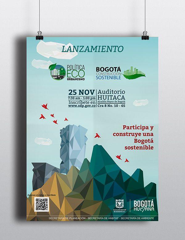 Afiche foro ecourbanismo 2014. Bajo poly
