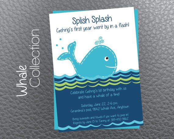 Whale themed 1st birthday party invitation, digital printable, blue, pool party on Etsy, $12.00