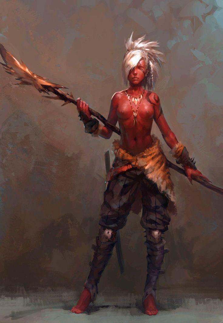 Red half-orc spear dancer.