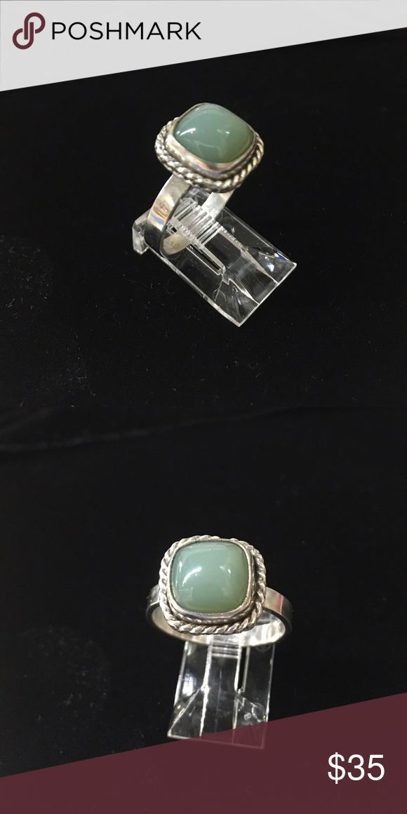 Russian Jade Sterling Setting Size 8 Russian Jade set in Artisan Crafted sterling silver setting. Plain band Size 8 StevebDesigns Jewelry Rings