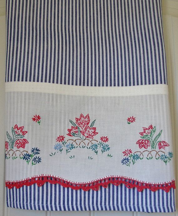 Recycled Vintage Pillowcase to Upcycled Tea Towel  Patriotic