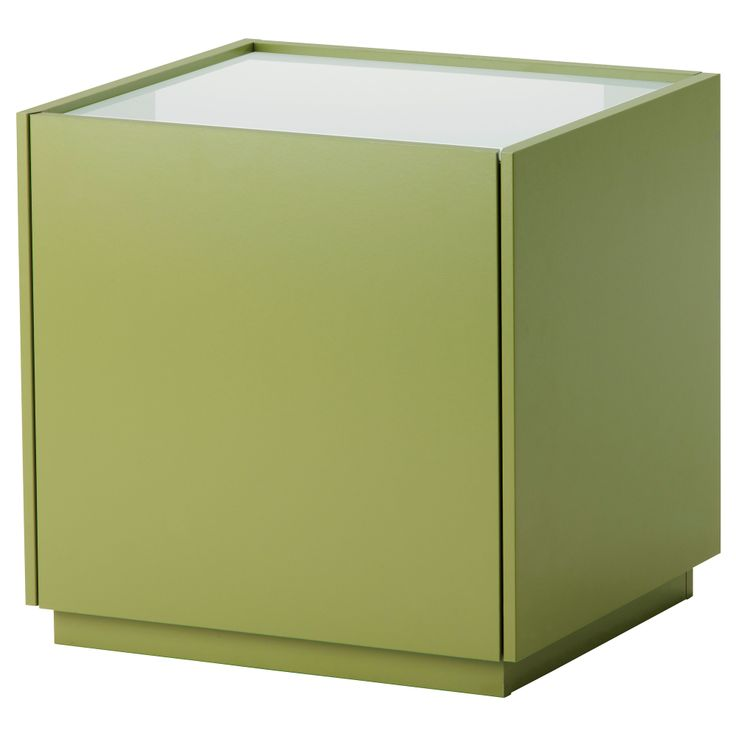NYVOLL Bedside table - green/white - IKEA