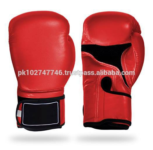Customized Logo Cowhide Leather Professional Boxing Gloves in red and white