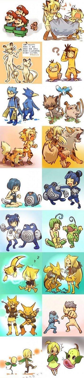 Pokemons e pessoas evoluídas e não evoluídas