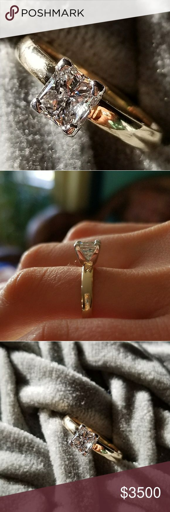 1ct Princess Cut Diamond Ring Genuine diamond. 14 karat gold Custom rolled band. Just upgraded my ring & had my jeweler set this setting on a traditional  band. Sizeable. Serious inquires only please.                         #wedding band, wedding ring, engagement band, engagement ring, princess cut, 1 carat Jewelry Rings #princesscutengagementring #goldweddingring