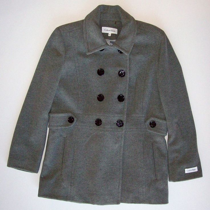 NEW Size 12 Women's Calvin Klein Gray Wool Coat Peacoat Double Breasted Jacket  #CalvinKlein #Peacoat