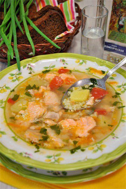 Рыбный суп из сёмги с овощами и пшеном. - Вкусная пауза
