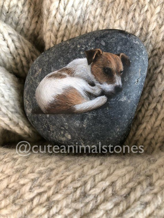 Painted Stone Jack Russell, Rock Painting Animal, Acrylics Painted Stone, Jack Russell, Pet Rock Portraits, Hand Painted, Christmas Gift