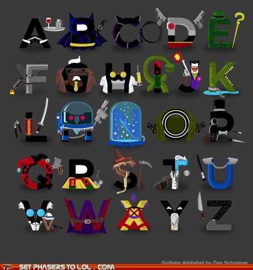 Gotham Alphabet: Gotham Cities, Funny Superhero, Comic Books, Superheroes, Alphabet Posters, Super Heroes, Gotham Alphabet, Superhero Alphabet, Batman Alphabet