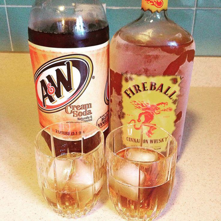 Fireball + cream soda = booze that tastes like a cinnamon roll.