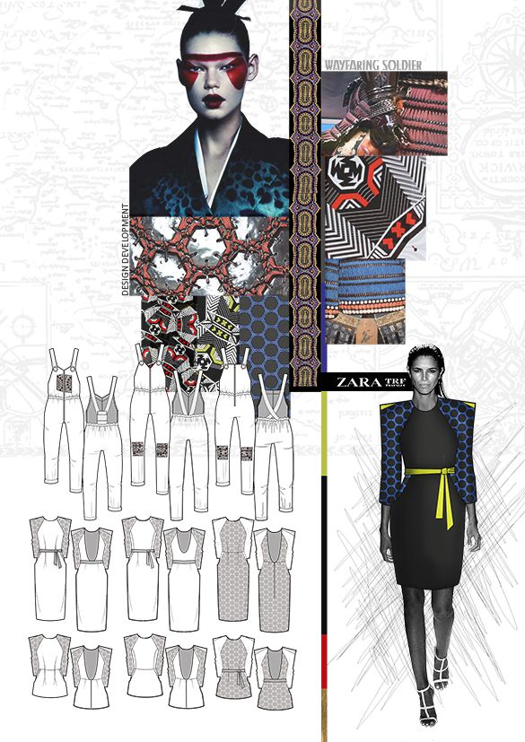 Fashion Portfolio - samurai armour-inspired fashion design; fashion drawings; fashion sketchbook // Hannah Mitcheson