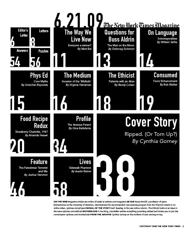 Experimental New York Times Magazine Table of Contents designed for a typography class at RISD. Blog post: http://karenkavett.com/blog/52/typography-iii-magazine-spread.php