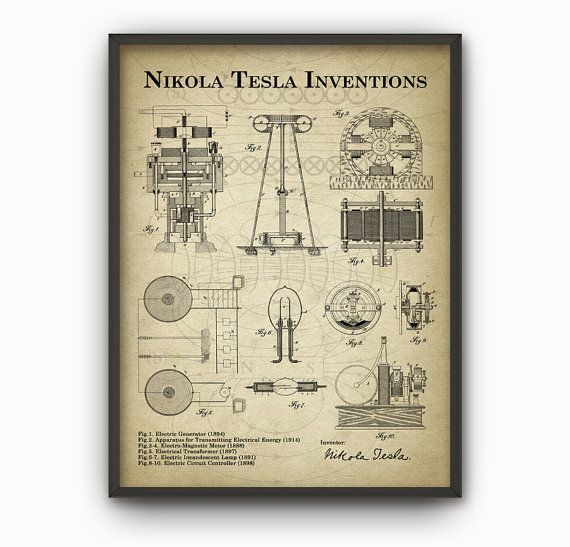 Tesla Inventions Wall Art Poster - Nikola Tesla Patent Wall Art - Engineer Science Poster Christmas Gift Idea - Vintage Science Wall Art