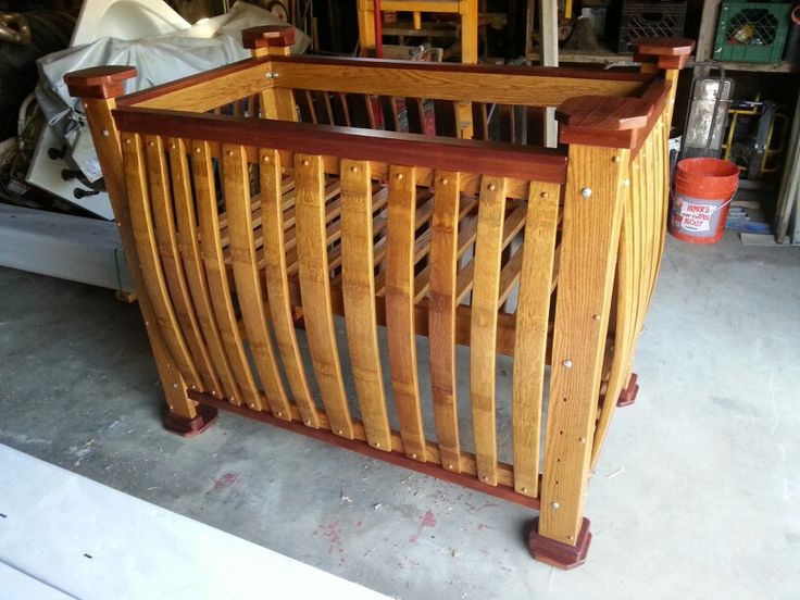Barrely Living Wine Barrel Baby Crib Built From White Oak Solid White Oak Wine Barrel Staves And African Mahogany Fully Adjustable Platfor