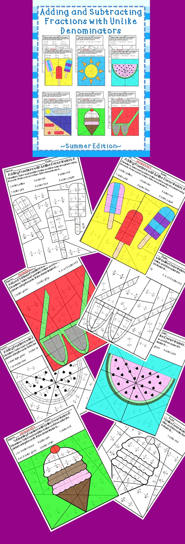 The 25 best adding and subtracting fractions ideas on pinterest introduce and practice adding and subtracting fractions with unlike denominators using these no prep robcynllc Choice Image