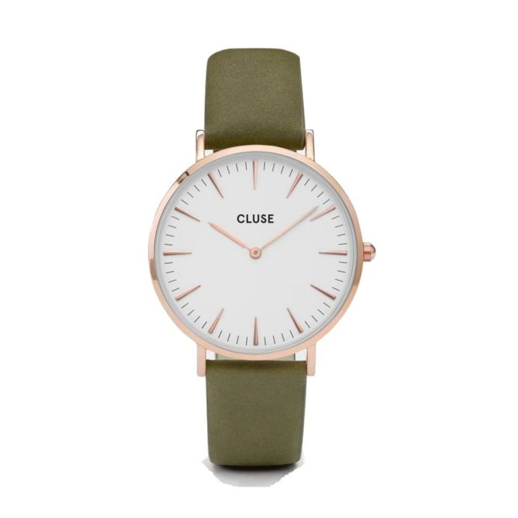 cluse la Bohème Rose Or White/Olive Green cl18023: Amazon.fr: Montres