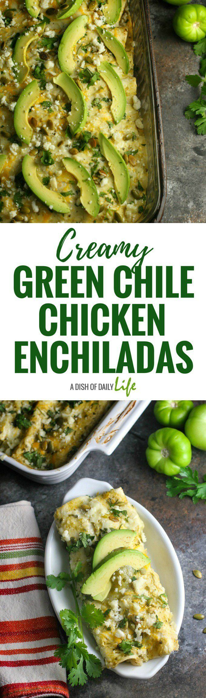 Greek yogurt gives these yummy Creamy Green Chile Chicken Enchiladas a health boost!  Mexican |  Chicken | Main Dishes | Green Chile Sauce | Green Chile Enchilada Sauce | Tex-Mex | Southwestern recipes | Greek yogurt #ad #TeamDairyNE