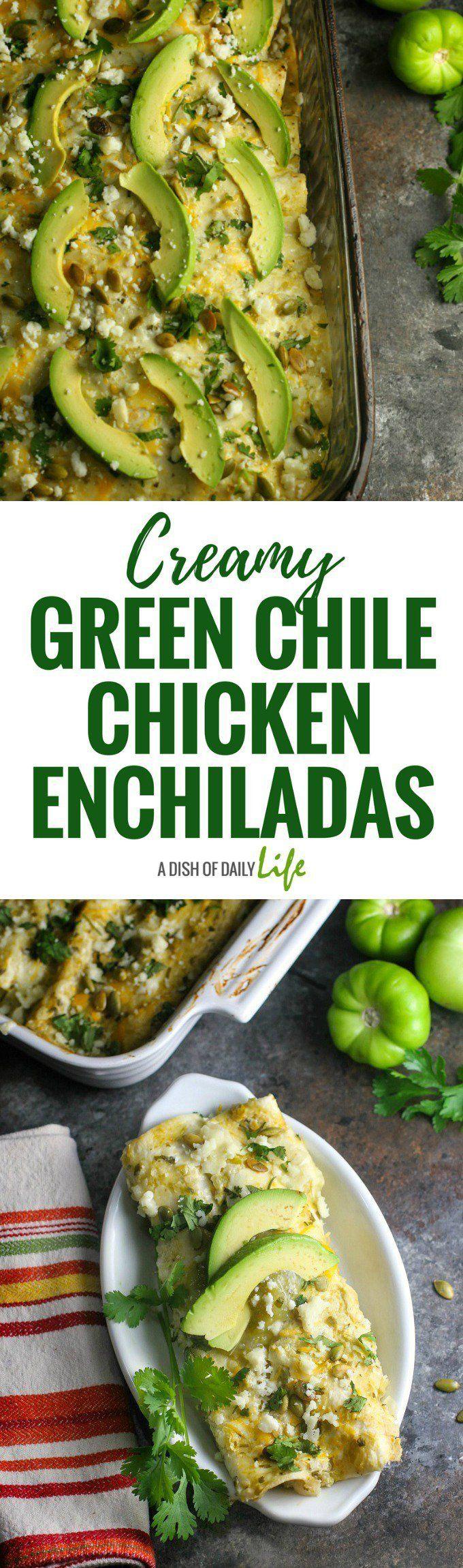 Greek yogurt gives these yummy Creamy Green Chile Chicken Enchiladas a health boost!  Mexican |  Chicken | Main Dishes | Green Chile Sauce | Green Chile Enchilada Sauce | Tex-Mex | Southwestern recipes | Greek yogurt