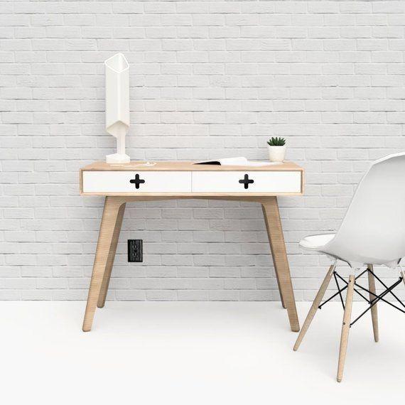Scandinavian Desk Danish Modern Desk With White Drawers In Maple By Maxmoodydesign Danish Modern Desk Modern Scandinavian Design Mid Century Modern Furniture