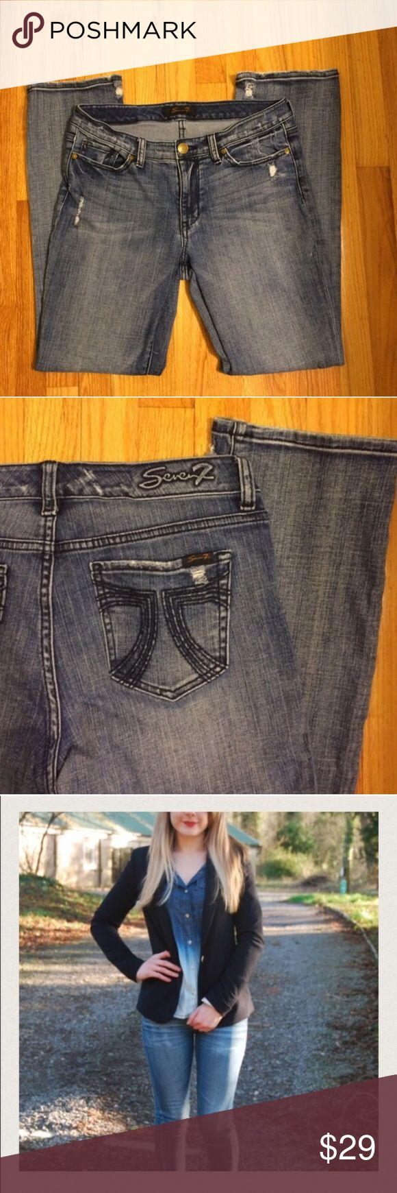 """Seven7 Perfect Distressed Classic Denim Inseam approximately 31.5"""" with rise around 9"""". Well loved and cared for with price accounting wear. 20% off bundles! Thanks for looking! First pict to show styling options, final three pictures is of denim for sale.  Seven7 Distressed Denim Seven7 Jeans"""