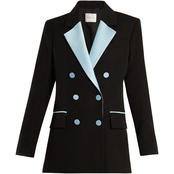 Racil Paris double-breasted contrast-lapel wool blazer ($1,121) ❤ liked on Polyvore featuring outerwear, jackets, blazers, black blue, double breasted tuxedo, tailored tuxedo, peaked lapel blazer, wool tuxedo and tux blazer