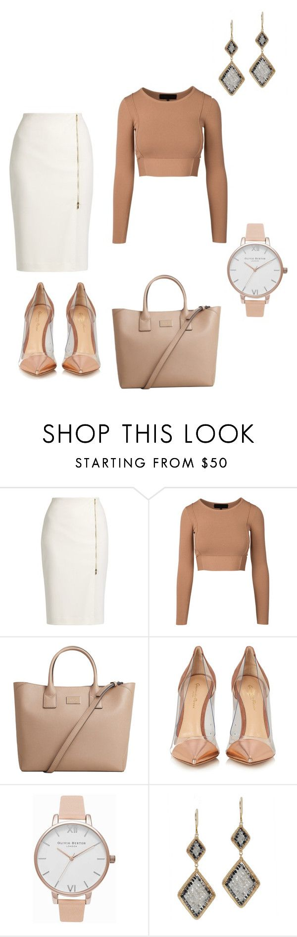 """Everyday Career Girl outfit 2"" by queenofdraguns ❤ liked on Polyvore featuring MaxMara, MANGO, Gianvito Rossi, Olivia Burton and Dana Kellin"