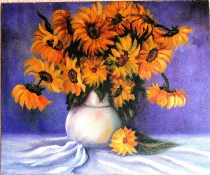 Flores en bodegón,girasoles.