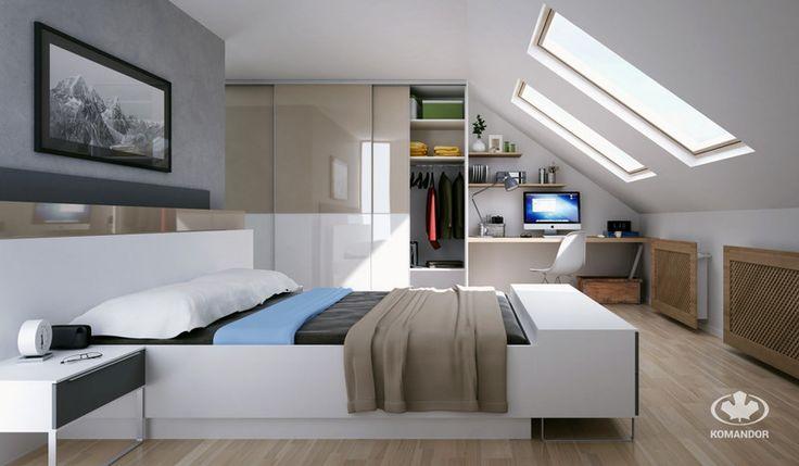 Aranżacja nowoczesnej, małej sypialni na poddaszu