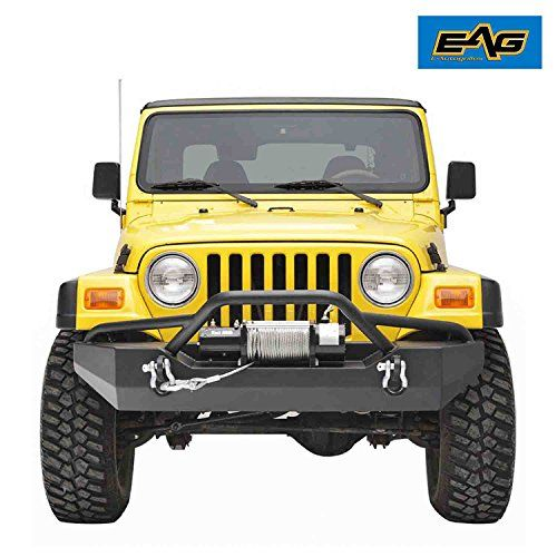 """E-Autogrilles 87-06 Jeep Wrangler TJ YJ Black Textured Off Road Front Bumper With D-ring (51-0016)  Fit for 1987-2006 Jeep Wrangler TJ YJ all models.  Made of 3/16"""" steel sheet and 2""""x .120 wall steel tubing. Textured black powder coat for corrosion protection and durability.  Welded hoop protects the front of Jeep Wrangler TJ YJ. Two tabs on pre-runner hoop for extra off-road lights.  The D-ring mounts are welded on both inside and outside for increased strength. Two 4.75 ton capacity..."""
